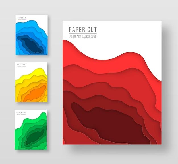 Pionowe ulotki wektorowe z wyciętymi z papieru kształtami fal modne kolory gradientu faliste linie w kształcie