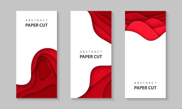 Pionowe ulotki z czerwonymi kształtami wyciętymi z papieru