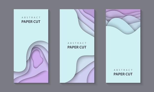 Pionowe ulotki zestaw z falami cięcia papieru