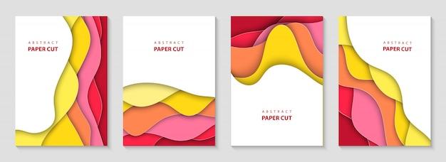 Pionowe ulotki zestaw z kolorowymi falami cięcia papieru