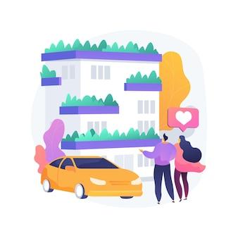 Pionowe zielone miasto abstrakcyjna ilustracja koncepcja. budynek zwalczający zanieczyszczenie powietrza, oszczędzające miejsce ekologiczne rozwiązanie, pionowy las, opłacalne innowacje budowlane