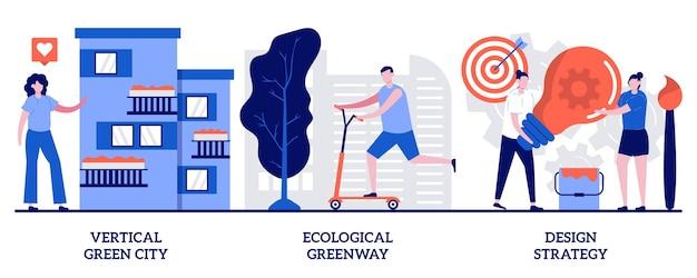 Pionowe zielone miasto, ekologiczny greenway, koncepcja strategii projektowania z małymi ludźmi. środowiskowe rozwiązania miejskie wektor zestaw ilustracji. oszczędzające miejsce rozwiązanie ekologiczne, metafora ekologii krajobrazu.