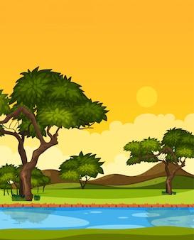 Pionowo natury scena lub krajobrazowa wieś z lasowym nadrzecznym widokiem i żółtym zmierzchu nieba widokiem