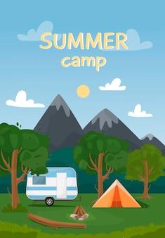 Pionowy baner internetowy na obóz letni, turystyka przyrodnicza, kemping, turystyka, trekking itp. ilustracja krajobrazu z górami, drzewami, namiotem i ogniskiem w stylu płaski.