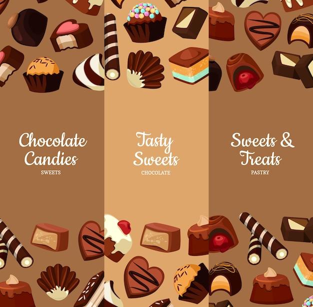 Pionowy baner z kreskówek czekoladowych cukierków