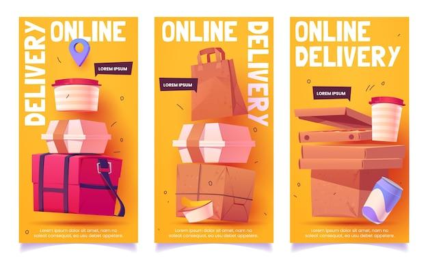Pionowy baner z kreskówkową dostawą żywności online