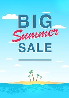 Pionowy plakat na duży temat letniej wyprzedaży. jasna ulotka promocyjna z niebem, morzem, wyspą i palmami. kolorowa reklamowa ilustracja z literowaniem.