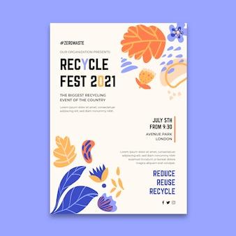 Pionowy plakat na festiwal recyklingu