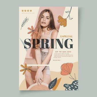 Pionowy plakat na wiosenną wyprzedaż mody