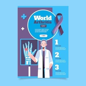 Pionowy plakat płaski światowy dzień zapalenia stawów