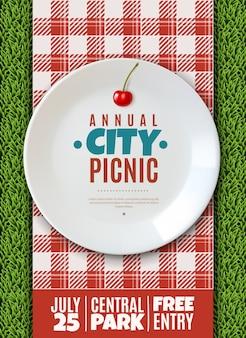 Pionowy plakat zaproszenie na coroczny piknik rodzinny w mieście baner biały porcelanowy talerz