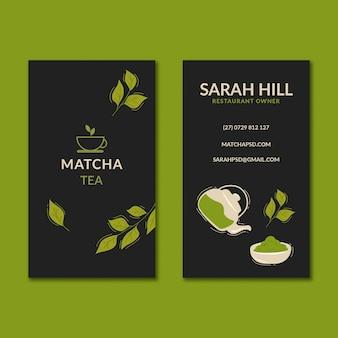 Pionowy szablon dwustronnej wizytówki matcha tea