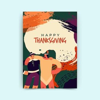 Pionowy szablon karty dziękczynienia