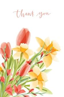 Pionowy szablon karty z napisem i bukietem narcyzów i tulipanów na białym tle. podziękowanie ozdobione pięknymi kwiatami. elegancki kolorowy kwiatowy ozdobny ilustracja.