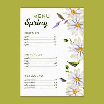 Pionowy szablon menu akwarela na wiosnę z kwiatami