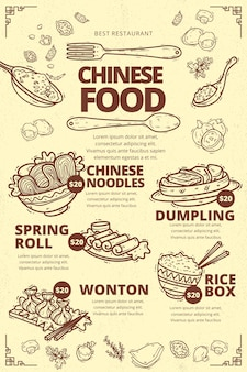 Pionowy szablon menu chińskiej żywności
