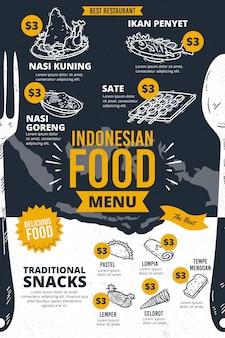 Pionowy szablon menu indonezyjskiej żywności