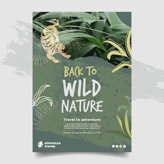 Pionowy szablon plakatu dla dzikiej przyrody z roślinnością i tygrysem