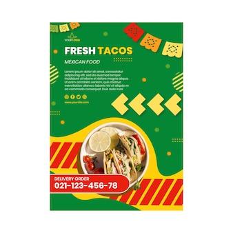 Pionowy szablon plakatu meksykańskie jedzenie