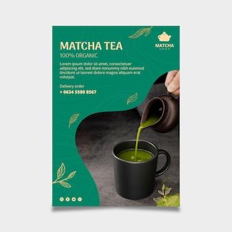 Pionowy szablon plakatu na herbatę matcha