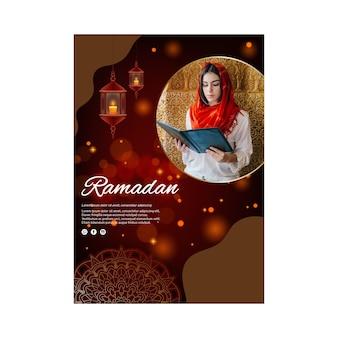 Pionowy szablon plakatu na ramadan