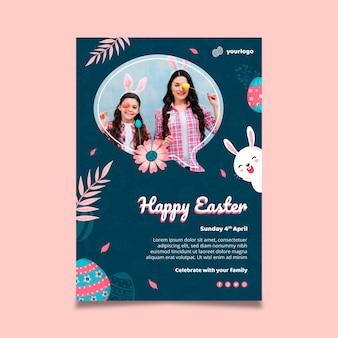 Pionowy szablon plakatu na wielkanoc z króliczkiem i rodziną