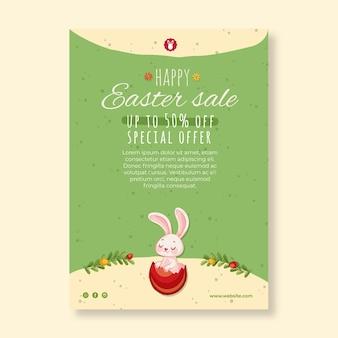 Pionowy szablon plakatu sprzedaży na wielkanoc z króliczkiem
