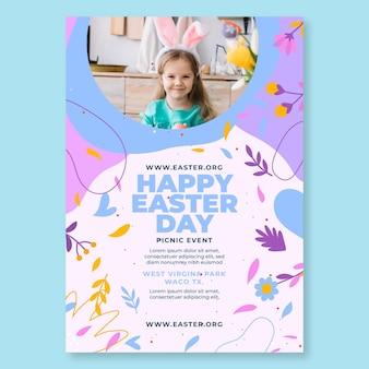 Pionowy szablon plakatu szczęśliwy dzień wielkanocy