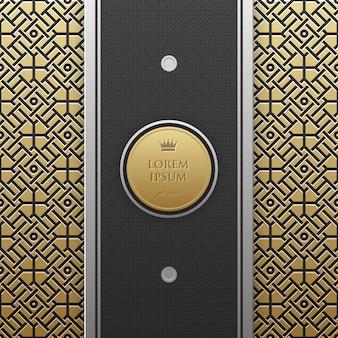 Pionowy szablon transparent na złotym tle metalicznej z bezproblemową geometryczny wzór