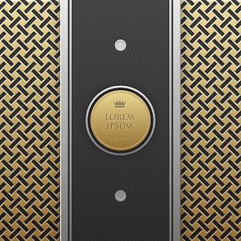 Pionowy szablon transparent na złotym tle metalicznej z bezproblemową geometryczny wzór.