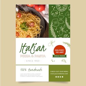 Pionowy szablon ulotki dla restauracji włoskiej