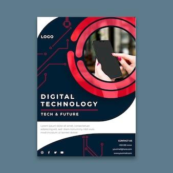 Pionowy szablon ulotki dla technologii cyfrowej