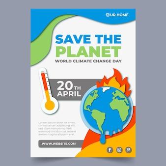 Pionowy szablon ulotki dotyczący zmiany klimatu w stylu papieru