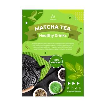 Pionowy szablon ulotki herbaty matcha