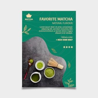 Pionowy szablon ulotki na herbatę matcha