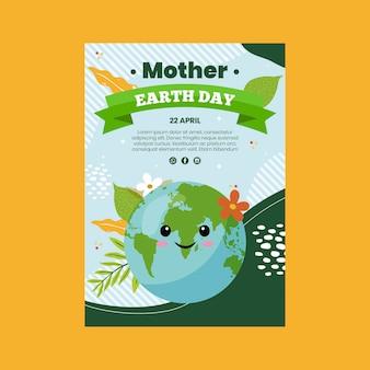 Pionowy szablon ulotki na obchody dnia matki ziemi
