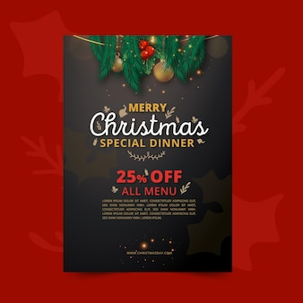 Pionowy szablon ulotki świątecznej z ofertą specjalną