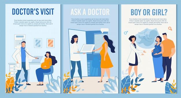 Pionowy zestaw bannerów dla matczynej służby prenatalnej