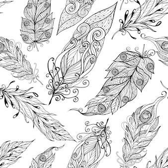 Piórkowy bezszwowy doodle czerni wzór