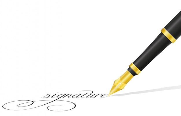 Pióro atramentowe i podpis.