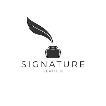 Pióro gęsie pióro i butelka z atramentem. minimalistyczny wektor projektu logo podpisu