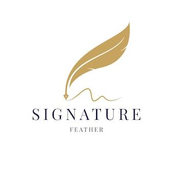 Pióro gęsie pióro, minimalistyczny wektor logo z podpisem pisma odręcznego