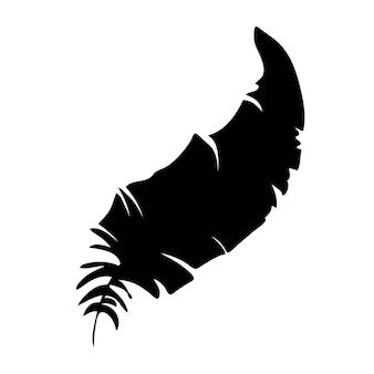Pióro ptaków czarne pióro sylwetka dla logo wektor zestaw