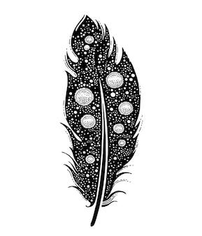Pióro tatuaż z kosmicznymi elementami graficznymi tekstury wszechświata