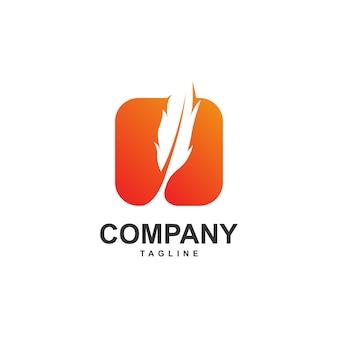 Pióro z nowoczesnym kwadratowym logo szablon
