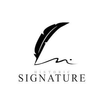 Pióro z piórem quill minimalistyczne logo z podpisem