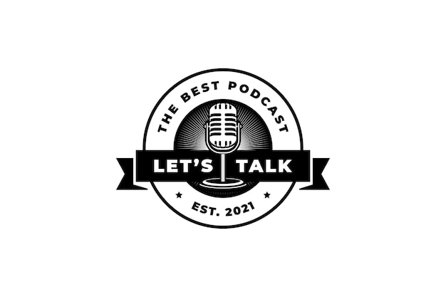 Piosenkarka karaoke stacji podcastowej z mikrofonem retro. element projektu logo, etykieta, godło, znak.