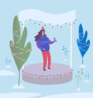 Piosenkarka występuje na scenie w winter park. płaska ilustracja wektorowa