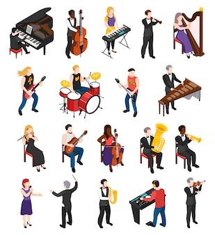 Piosenkarz dyrygent i muzycy z ukłonem smyczkowym i instrumenty perkusyjne izometryczne ludzi na białym tle