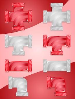 Pipes plumbing color zestaw cukierków czerwony i szary